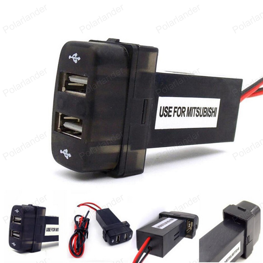 Dual 2 Port USB adapter for MITSUBISHI Special Car Charger 5V 2 1A Car DC-DC Power Inverter Converter for i phone  amp  Mobile