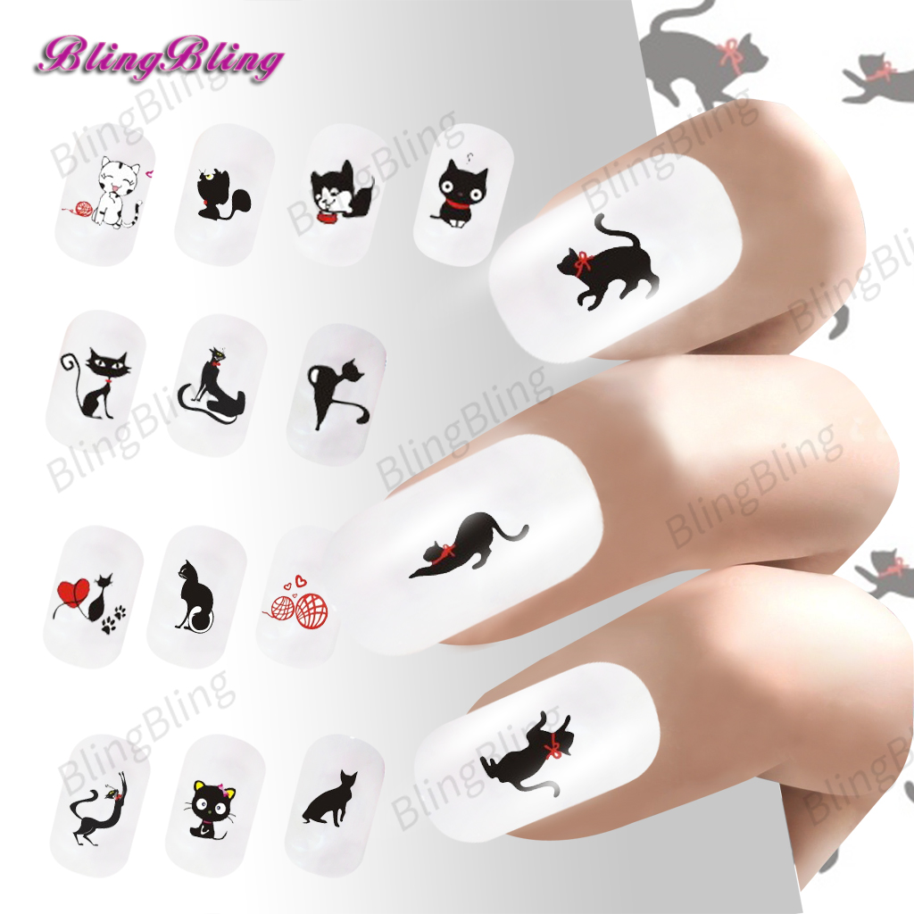 2PCS Black Cat Nail Stickers Water Transfer Nail Art Foil Cute Cats Design Nail Wrap Manicure Decal 24 styles For Nails 24sheets nail sticker cat designs water transfer nails art loveliness cartoon cat gel beauty decal makeup manicure wrap decals