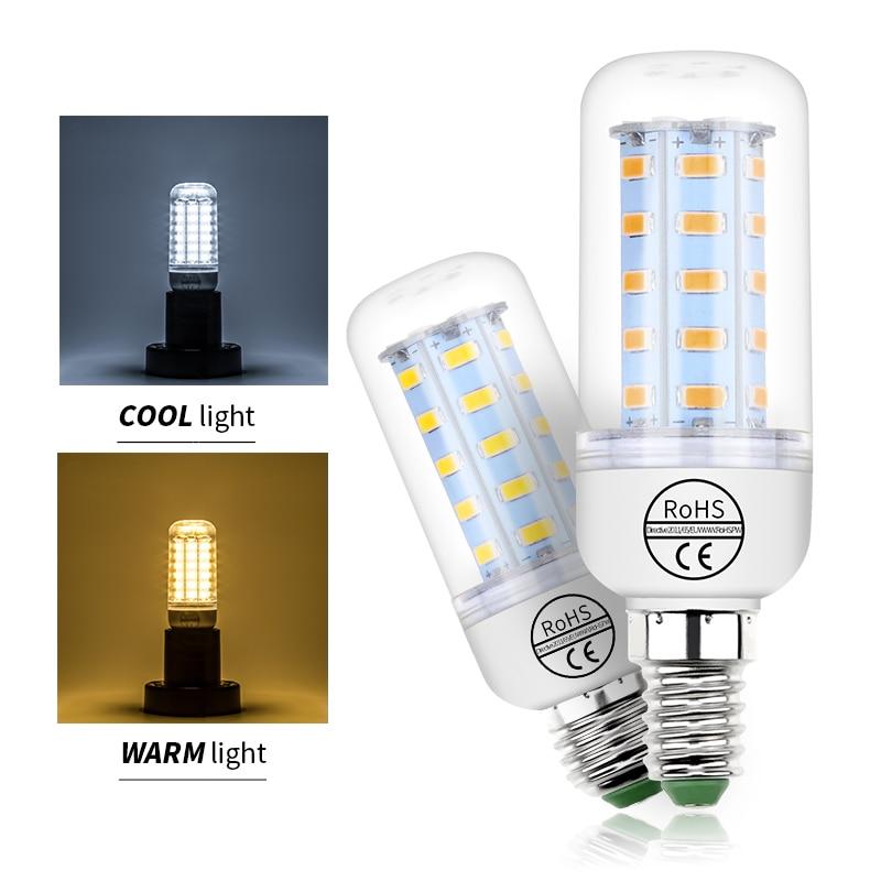 E27 LED Lamp E14 LED Corn Light SMD5730 LED Bulb 220V 24 36 48 56 69 72leds Chandelier 3W High Power Interior Energy Saving Bulb цены
