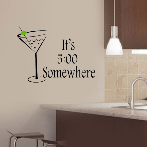 Martini Drink Glass Itu0027s 5:00 Somewhere Wall Stickers ,Kitchen Sticker Wall  Say Quote Word Lettering Art Vinyl Decal Home Decor In Wall Stickers From  Home ...