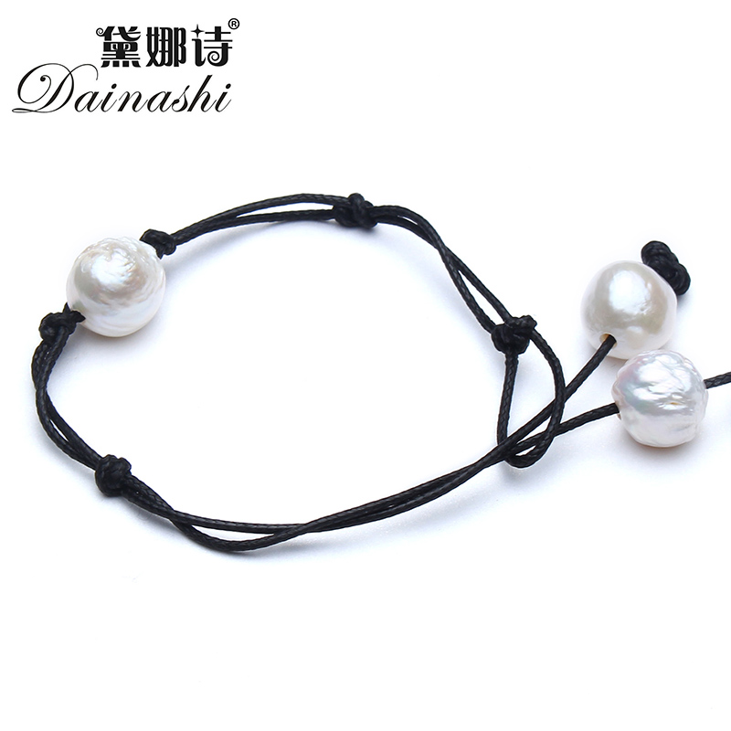 Dainashi 2017 Handmade DIY Leather natural freshwater pearls bracelet jewelry Baroque Pearl rope bracelet for women giftDainashi 2017 Handmade DIY Leather natural freshwater pearls bracelet jewelry Baroque Pearl rope bracelet for women gift