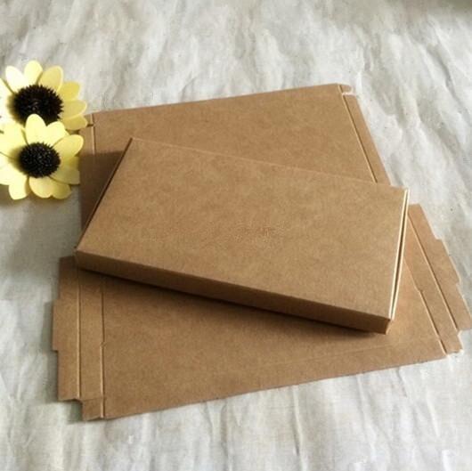 300 pièces/lot-16.9*8.7*1.1 cm boîte Kraft Carton brun, papier d'emballage Kraft, boîtes de rangement pour téléphone savon cadeau bijoux
