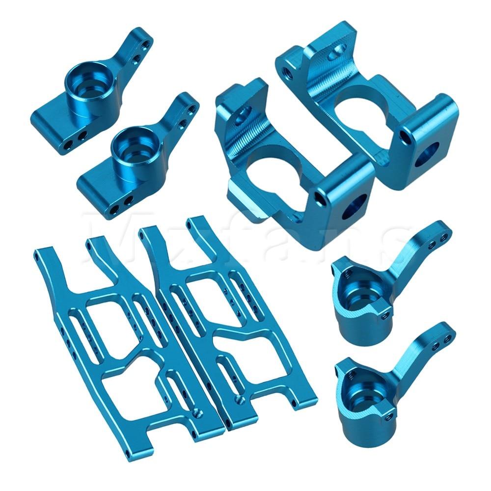 Mxfans 8x Blue RC1:10 Aluminum Alloy Hub Carrier + Rear Suspension Arm for HPI Truck hsp 122021 replacement aluminum alloy rear lower suspension arm for 1 10 rc cars blue 2 pcs