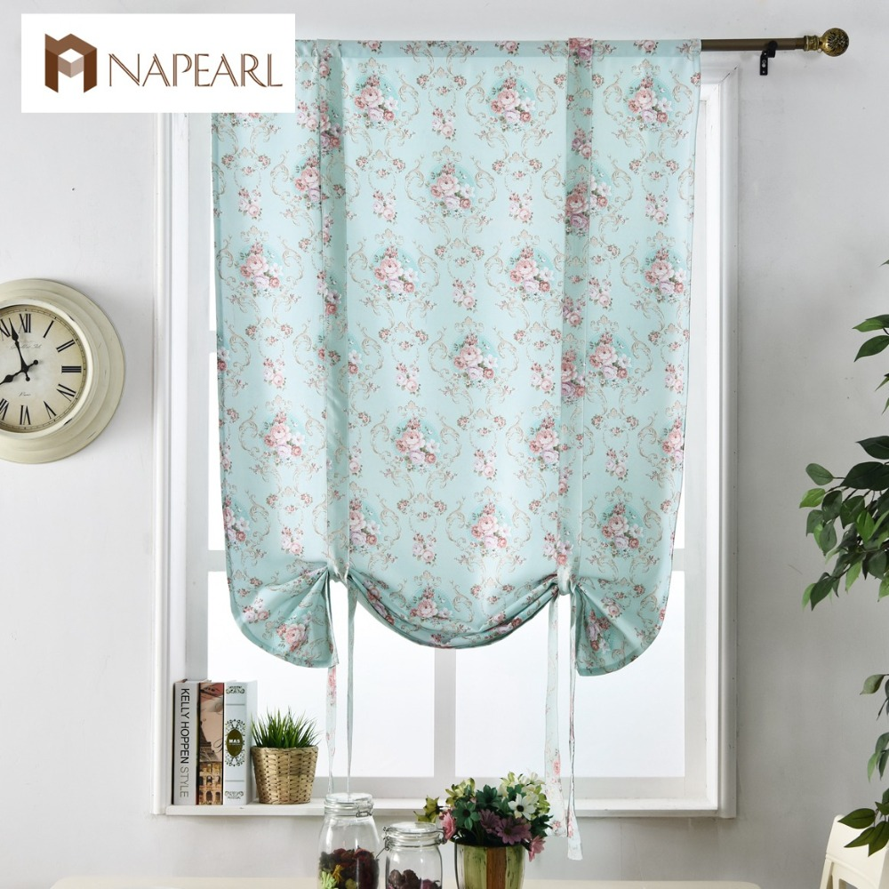Floral roman blinds short kitchen door curtains blackout shade short ...