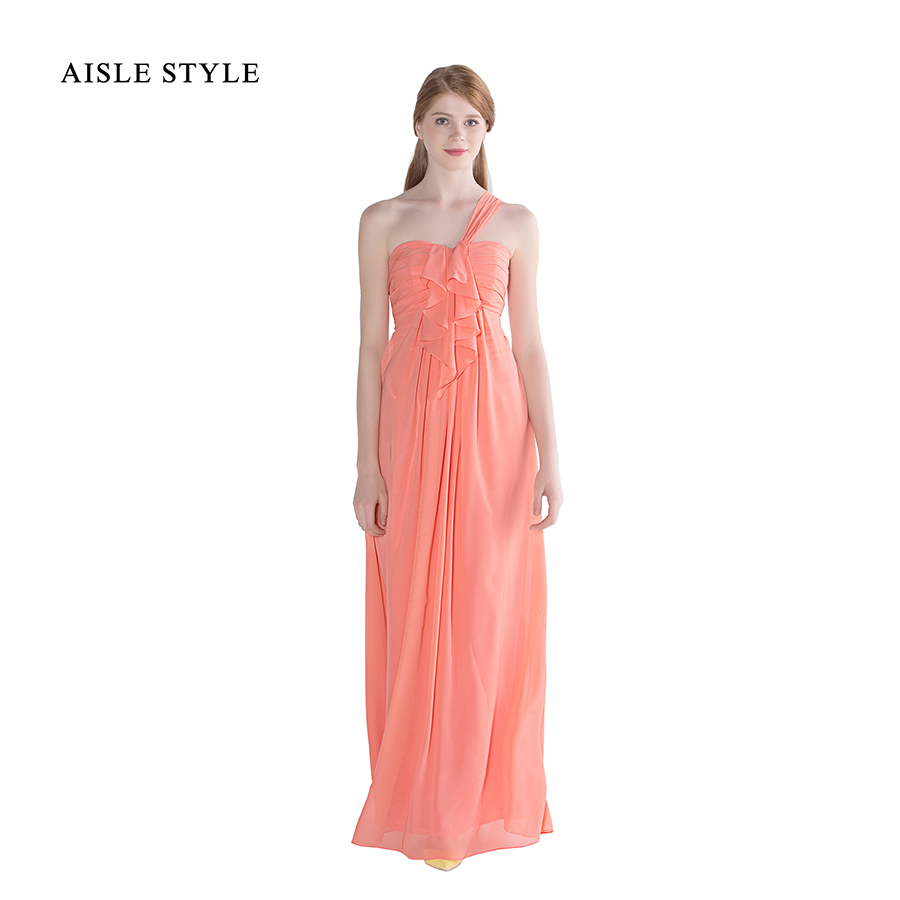 Online get cheap one shoulder maternity dresses aliexpress aisle style beach empire a line bridesmaid dresses in coral long one shoulder ruffle bridesmaid dress for maternity ombrellifo Images