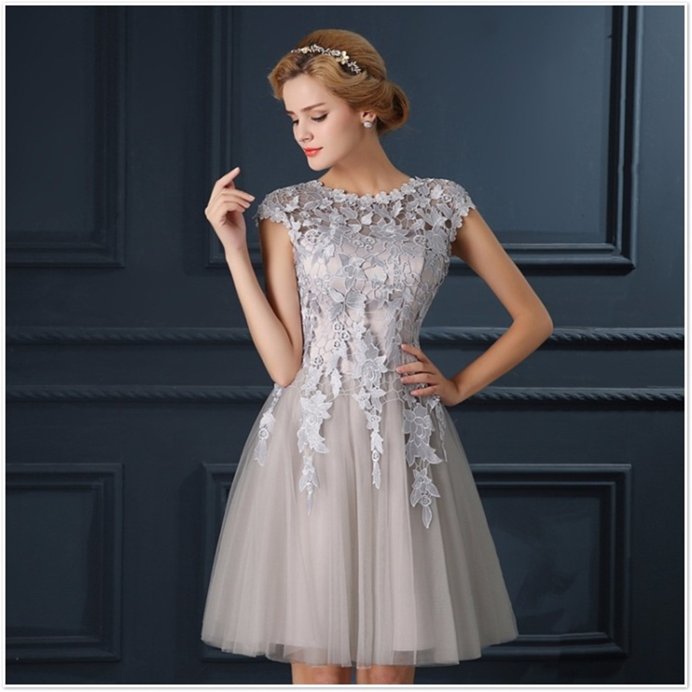Short gray dress short platinum tulle bridesmaid dress with aliexpress ruthshen robe de soiree mini short champagne gray short tail dresses 2017 cap sleeve vestidos ombrellifo Gallery