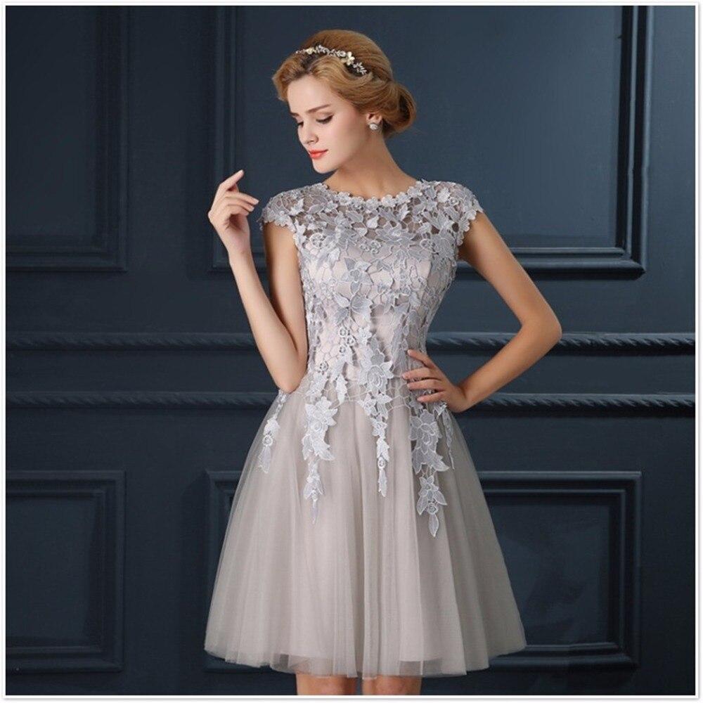 ruthshen Fashion Robe De Soiree Mini Short Gray Short Cocktail Dresses  Short Sleeves Vestidos Coctel Knee ... a914e93f2a0f