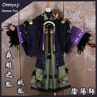 Аниме! Onmyoji демон лиса ночь очарование лиса новая кожа великолепные кимоно форма косплэй костюм Хэллоуин наряд Бесплатная доставка