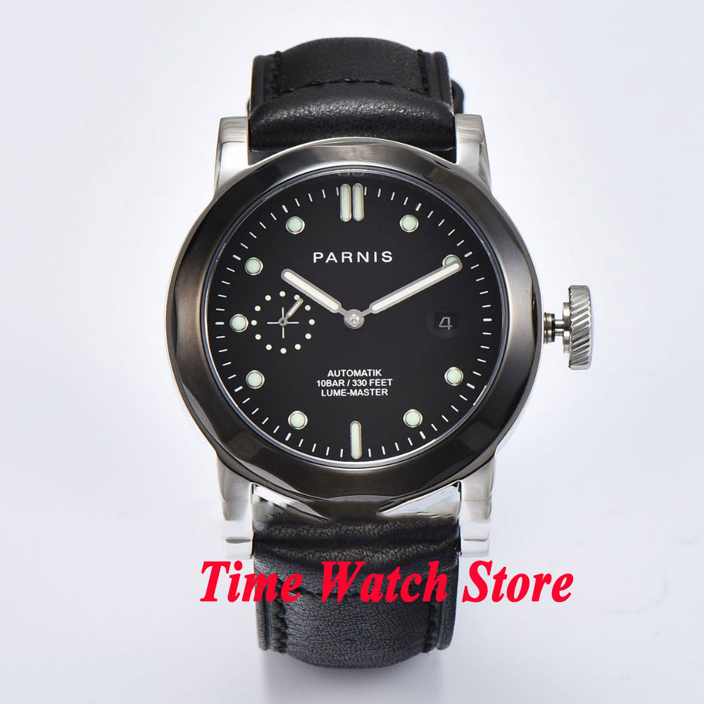 44mm Parnis mens watch 767 black dial sapphire glass black bezel ST2555 Automatic movement watch men цена и фото