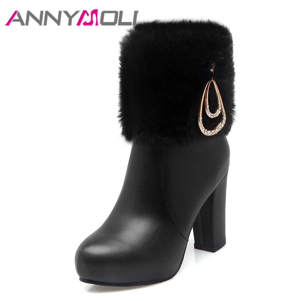 ANNYMOLI Winter Platform High Heel Boots Fur Warm Fashion Rhinestone Mid Calf Boots Zipper Black Heels Ladies Shoes Pink White power supply 220v for hp color laserjet 4600 4600n 4600dtn 4610n 4650 460n 4650dn 4650dtn used printer part rg5 6411 020cn