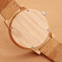 SUUTOOP Bamboo Wood Watch Women's watches Quartz Wooden Design Wristwatches Cowhide Leather fashion simple Relogio Masculino