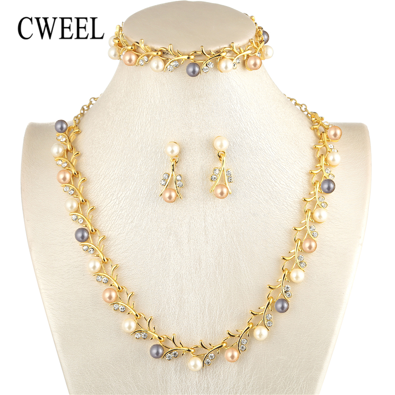 CWEEL Pearl Jewelry Sets For Women African Beads Jewelry Set Wedding Imitation Crystal Bridal Dubai Necklace Jewelery Costume