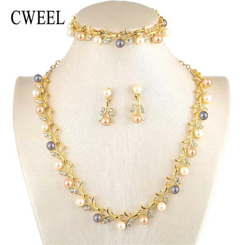 CWEEL פרל תכשיטי סטים לנשים אפריקאי חרוזים תכשיטי סט חתונת חיקוי קריסטל כלה דובאי שרשרת תכשיטי תלבושות