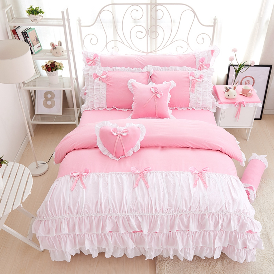 Twin white ruffle bedding - 3 4pcs Cotton Pink Princess Bedding Set Lace Edge Solid Pink And White Color Twin