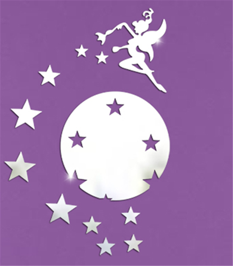Tinkerbell Fairy Princess Mirror Sticker 3d Mirror Silvery Wall Stickers For Kid Room Mural Quarto Wall Decals Home Decor Poster
