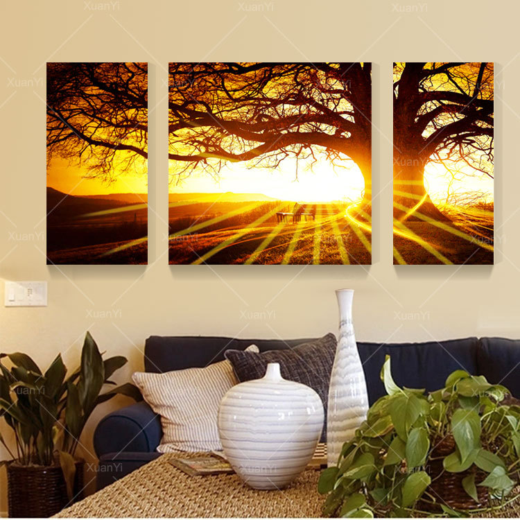 3 Panel Sunset Tree Landscape Home Art Picture Painting Prints On Canvas Home Decor For Bed Room Modern HD Print No Frame YX1494