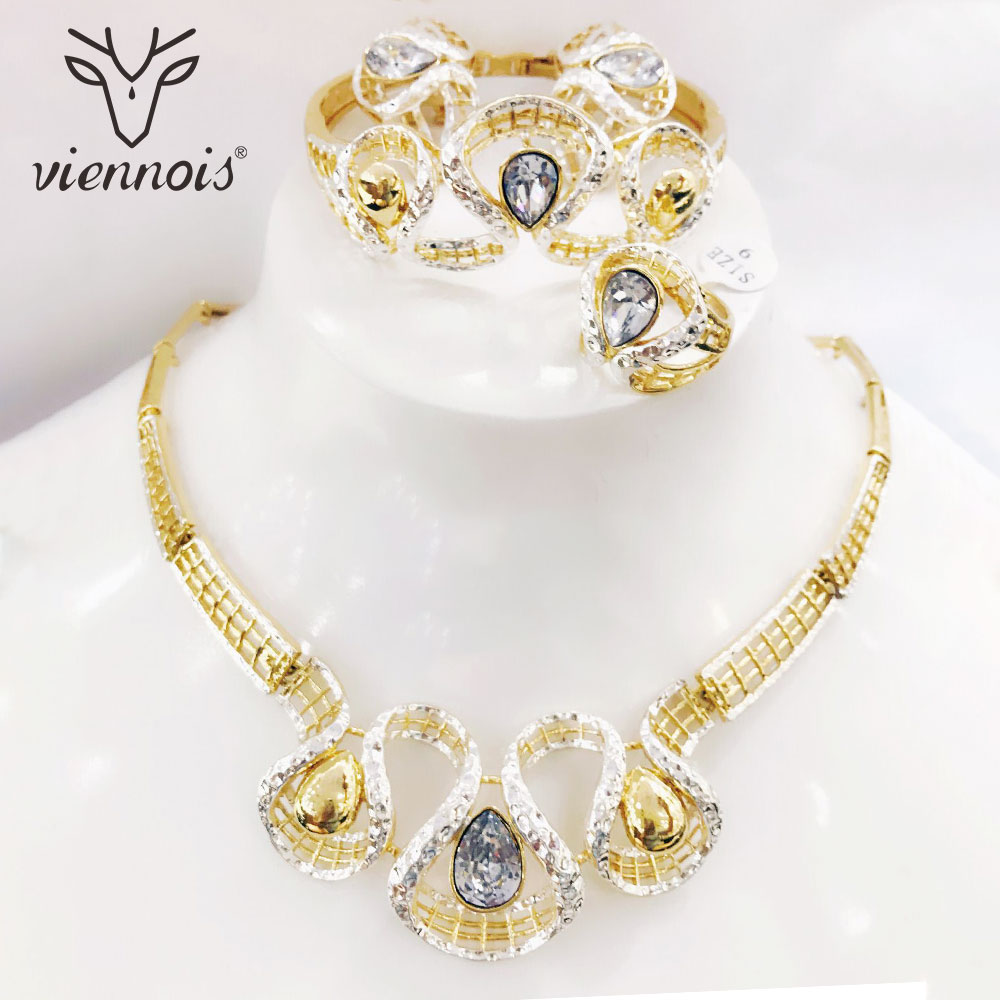 Viennois Mix Gold /Silver Color Stud Earrings Hollow Big Jewelry Set for Women Jewelry Sets New Wedding viennois chunky gold color stud earrings red rhinestone crystal jewelry set for women jewelry sets new