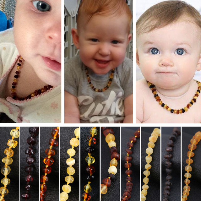 Baltic Amber Teething Necklace for Baby(Cognac) – Handmade in Lithuania – Lab-Tested Authentic – 3 Sizes