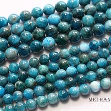 Meihan gros naturel rentable 8mm 9.5 10mm bleu apatite lisse rond en vrac mode gemme pierre perles pour la fabrication de bijoux