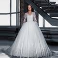 Vestido de novia 2016 Nuevo Balón vestido de Novia de Manga Larga vestido Por Encargo de La Princesa de Encaje Robe de mariage Vestido de novia vestido