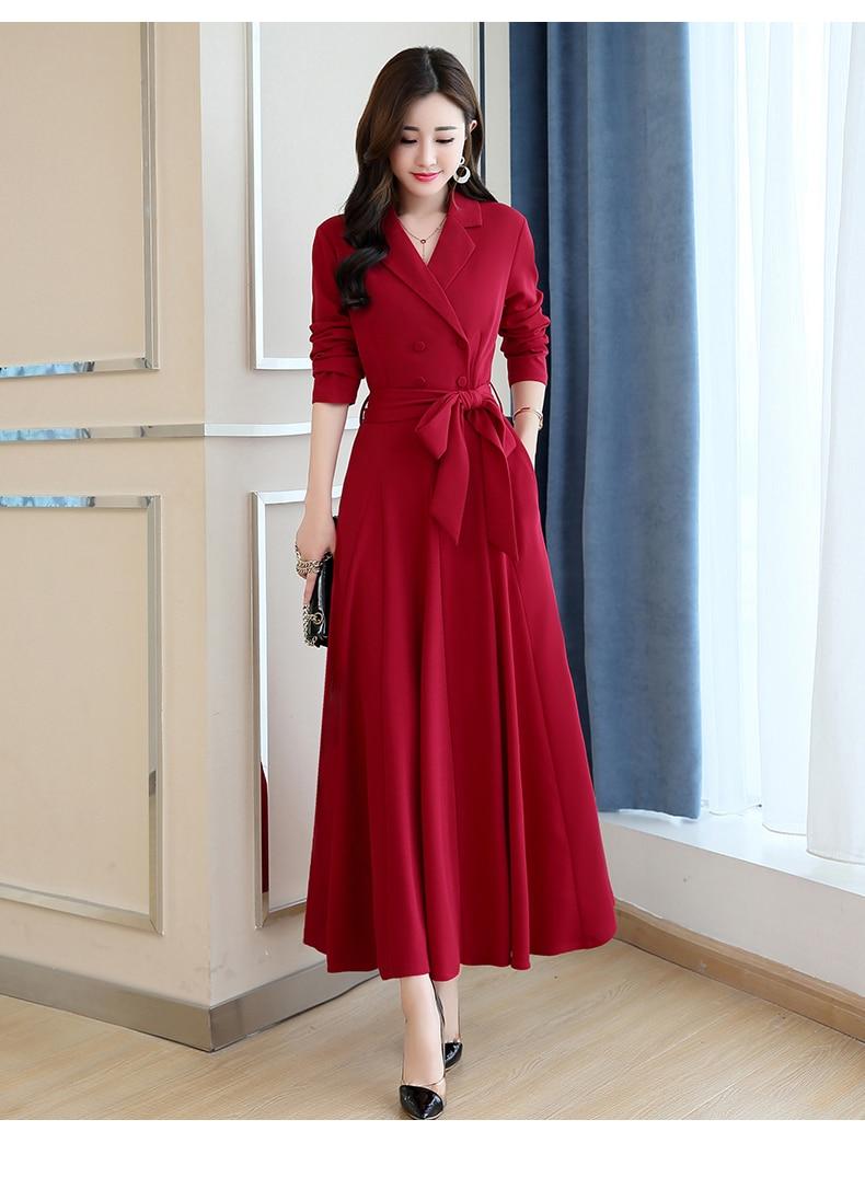 Spring and Autumn 2019 New Women's Dresses Korean Edition Long Sleeve Dresses Overlap Long Popular Temperament with Bottom 129