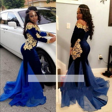 Royal Blue Elegant Evening Dresses Velour Mermaid Long Sleeves  Gold Appliques Women Formal Prom Evening Gown robe de soiree