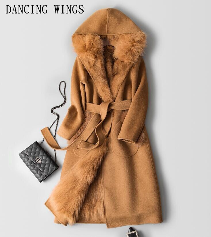 Hiver Chaud Épais Naturel Doublure en Fourrure De Renard Double-face Laine Manteaux Femmes Pardessus Amovible Cachemire Long Outwear Avec Capuche