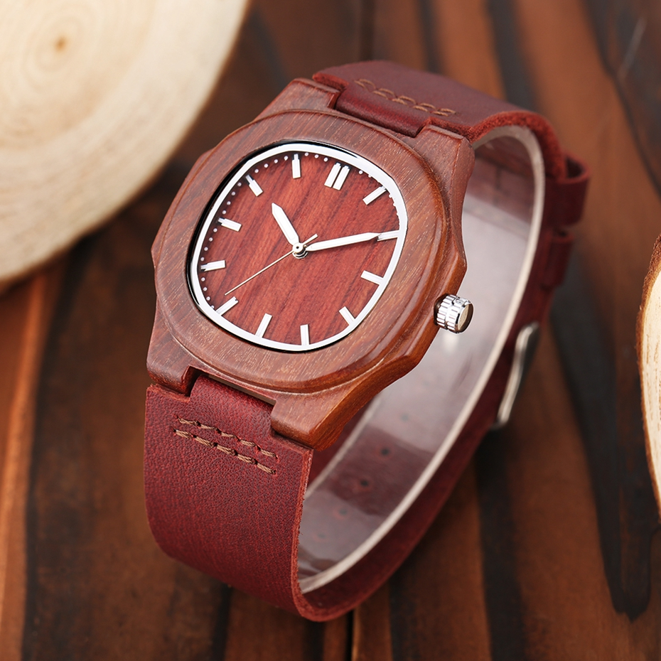 2017 New arrivals Wood Watch Natural Light Wooden Face Fashion Genuine Leather Bangle Unisex Gifts for Men Women Reloj de madera Christmas Gifts (43)