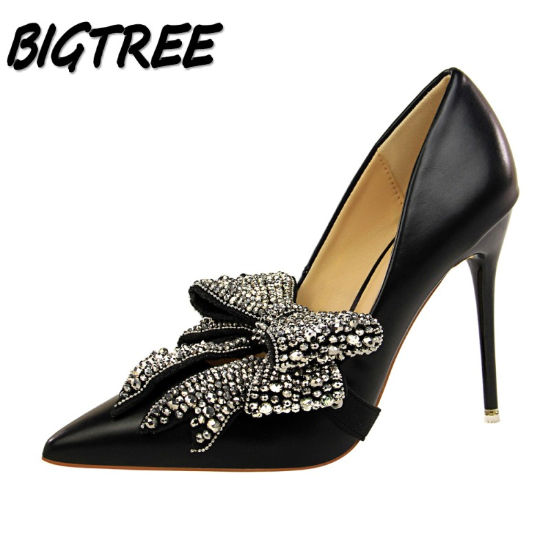 BIGTREE Women Pointed Toe High heels Shoes Woman Pumps Ladies Fashion Crystal Butterfly-knot Two wear Dress Party Stilettos padegao fashion women shoes 2017 high heels wedding party dress shoes light gold mesh cloth shoes pointed toe pumps