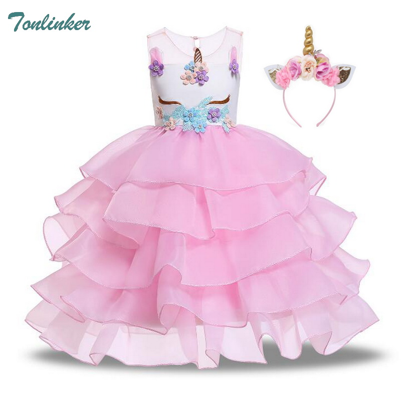 Girls Unicorn Flowers Cake Tutu Dresses With Beadbad For Kids Princess Fancy Birthday Theme Party Costumes 1-10 Years Pink Blue