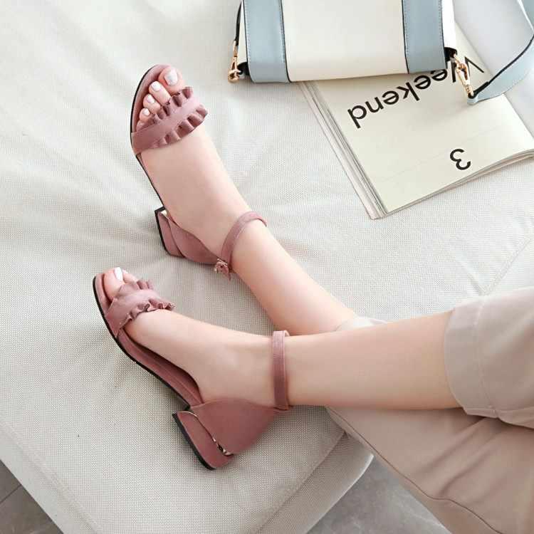 Große Größe High heels sandalen frauen schuhe frau sommer damen Süße sandalen mit einem wort taste und undichte kappe