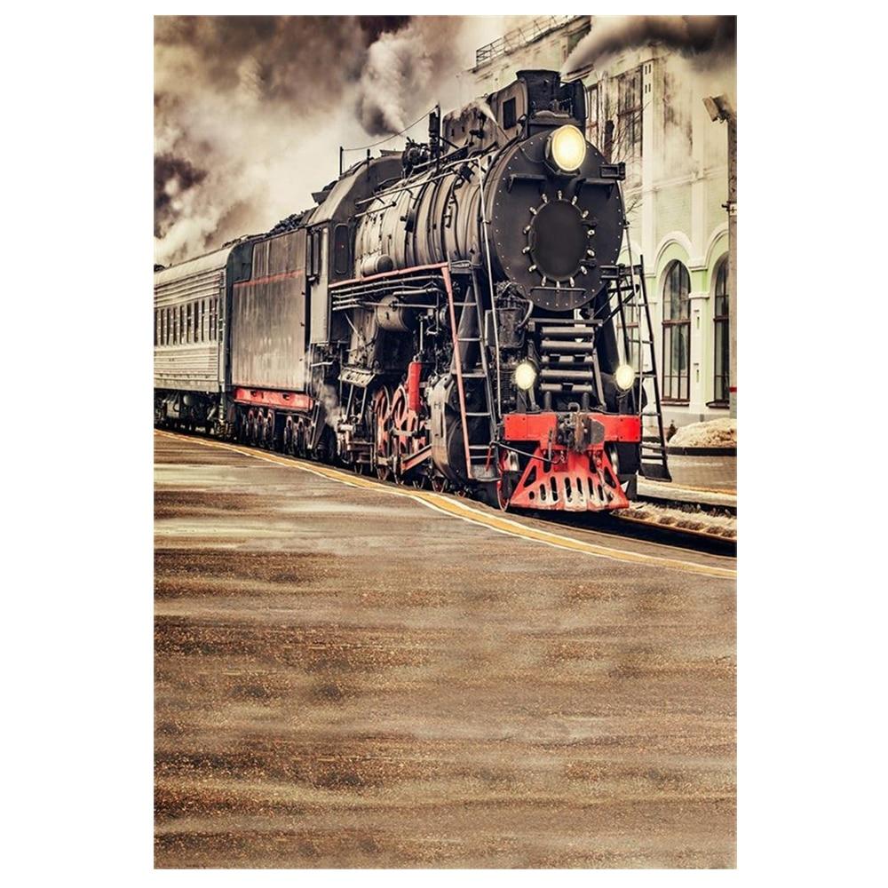 Vinyl Thin Photography Backdrop 5X7FT Background The Old Steam Train Locomotive Railway Landscape Scene theme Background Photo