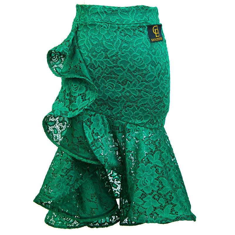Latin Dancing Skirt For Woman Sexy Elastic Lace Fish Bone Dance Skirts For Ladies Salsa Cha