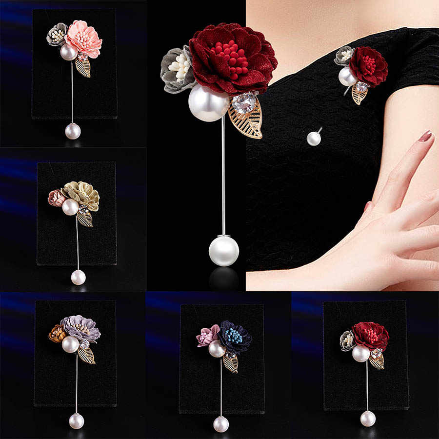 Fashion Women Cloth Flower Brooch Elegant Pearl Fabric Brooch Pin Cardigan Shirt Clother Shawl Pin Jewelry Gifts