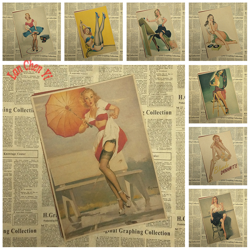 PINUP GIRLS NO.3 World War II Vintage Kraft Paper Classic Poster Bar Cafe Living Room Dining room Wall Decorative Paintings