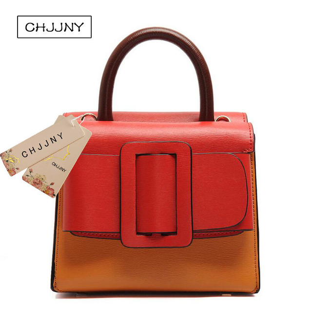 801dc496d7 CHJJNY 2017 autumn and winter fashion style genuine leather bark grain with  nubuck big buckle flap