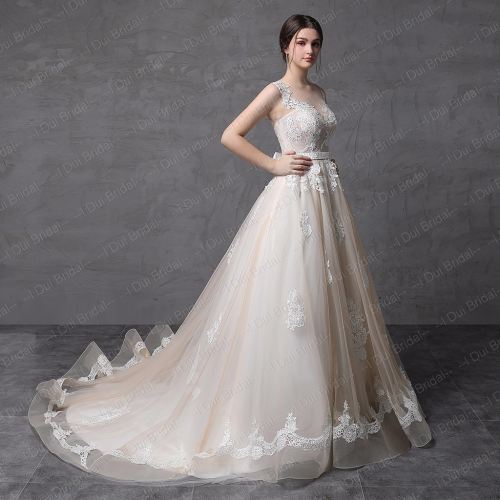 ᗕIllusion Lace Back Wedding Dresses Ball Gown Sheer Tulle Light ...