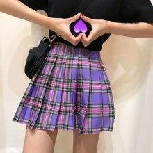 2019 Summer Women Plaid Skirts Kawaii Girls High Waist Short Club Cute Thin Pleated