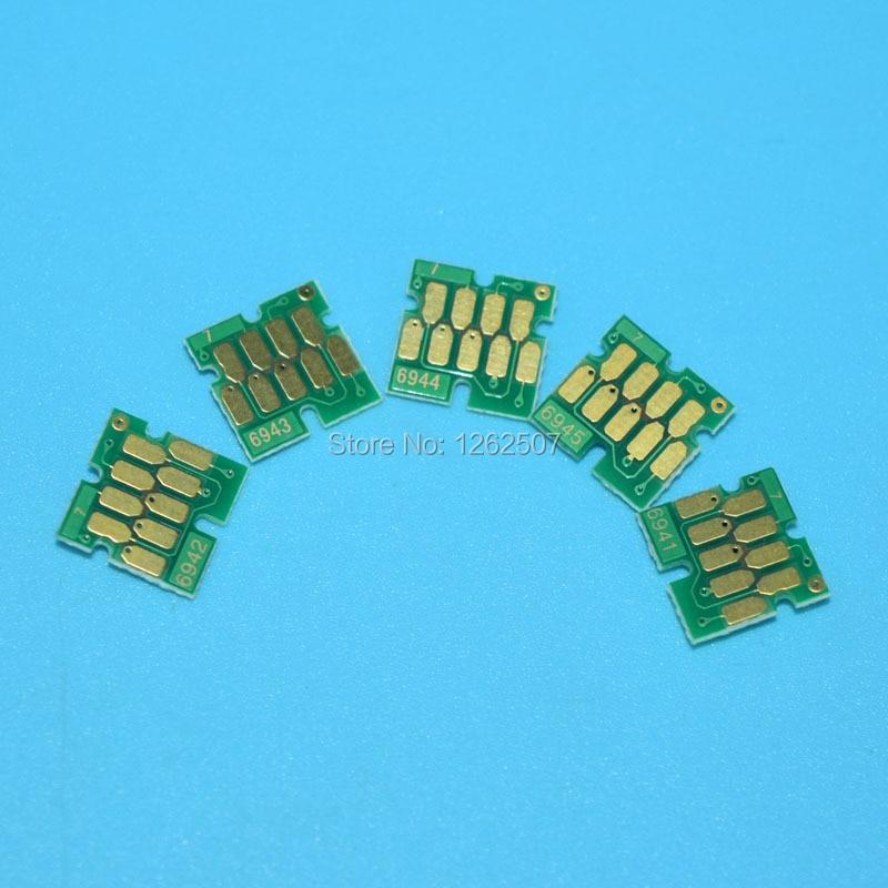 T6941 T6942 T6943 T6944 T6945 5Colors Auto Reset ARC Permanent Chips For Epson T3000 T5000 T7000 Printers Refill Ink Cartridges