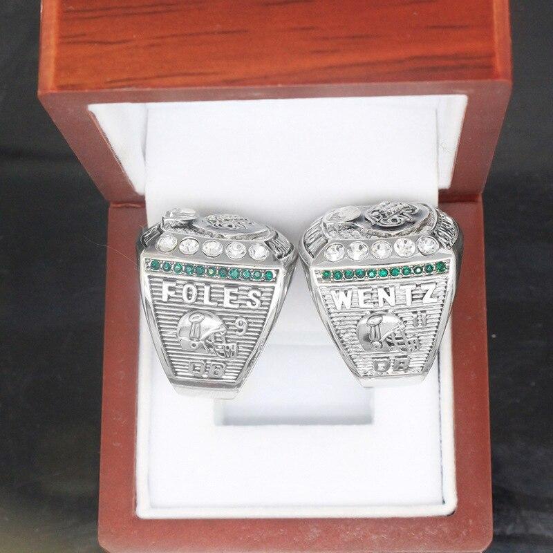 hot-Sale 2017- 2018 Philadelphia Eagles Championship ring Zinc alloy rings for men high quality Size 8-14