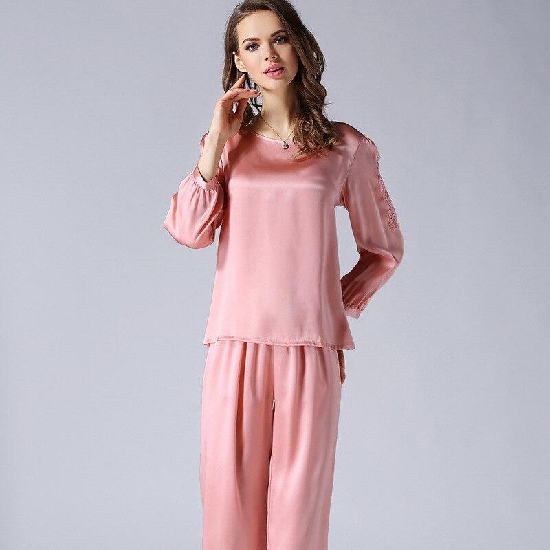 T77132 vente en gros 2017 femmes printemps et automne à manches longues vêtements de nuit femmes 100% ensemble de pyjamas en soie