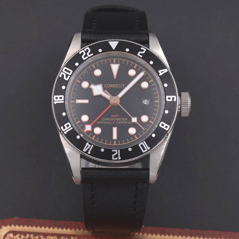 Corgeut 41mm Men's Automatic Mechanical Watch GMT Sapphire Calendar Watch цена и фото