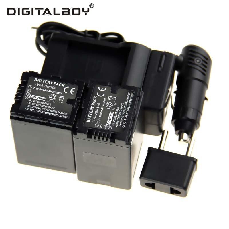 4000mAh 5PCS/Set VW-VBN390 VW VBN390 VWVBN390 Camera Battery+Charger+Car Charger+Plug For Panasonic HDC-TM900 HDC-SD800 HC-X900 panasonic hc v760