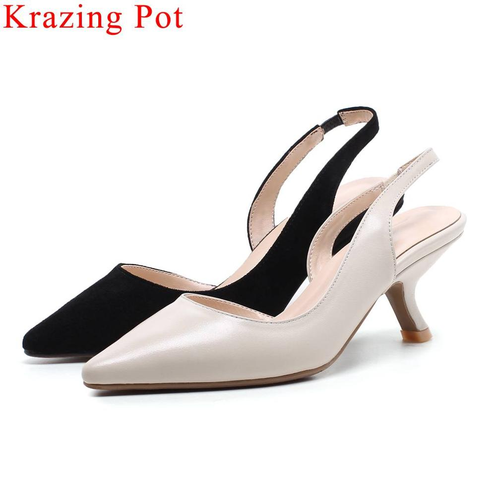 Krazing Pot natural leather square toe slip on thin med heels slingback women sandals office lady elegant dinner party shoes L46Krazing Pot natural leather square toe slip on thin med heels slingback women sandals office lady elegant dinner party shoes L46