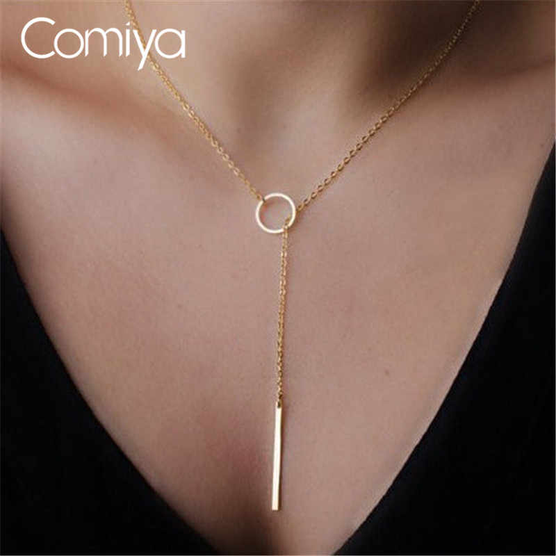 Comiya Gold Color Thin Adjustable Chain Simple Layering Necklace Bar Pendants Necklaces Wedding Bridal Jewelry Drop Ship