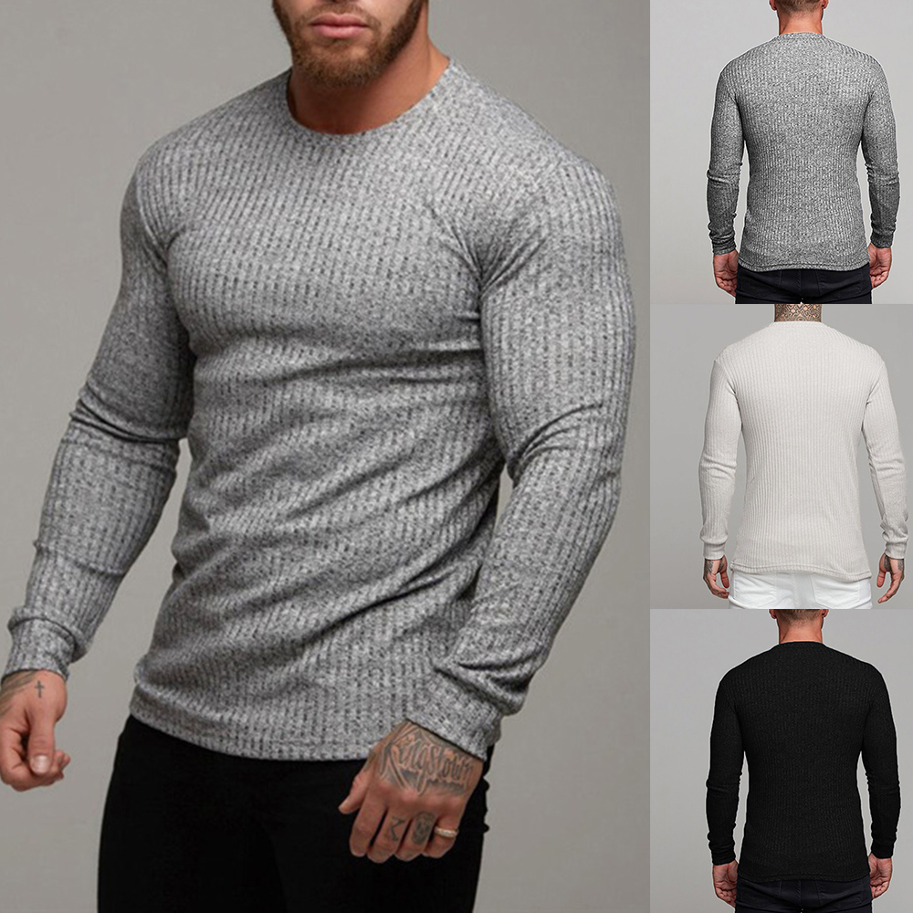 MJARTORIA 2019 Autumn Winter Casual Men's Sweater o-Neck Pullover Solid Slim Fit Knittwear Pullovers Men Pull Homme