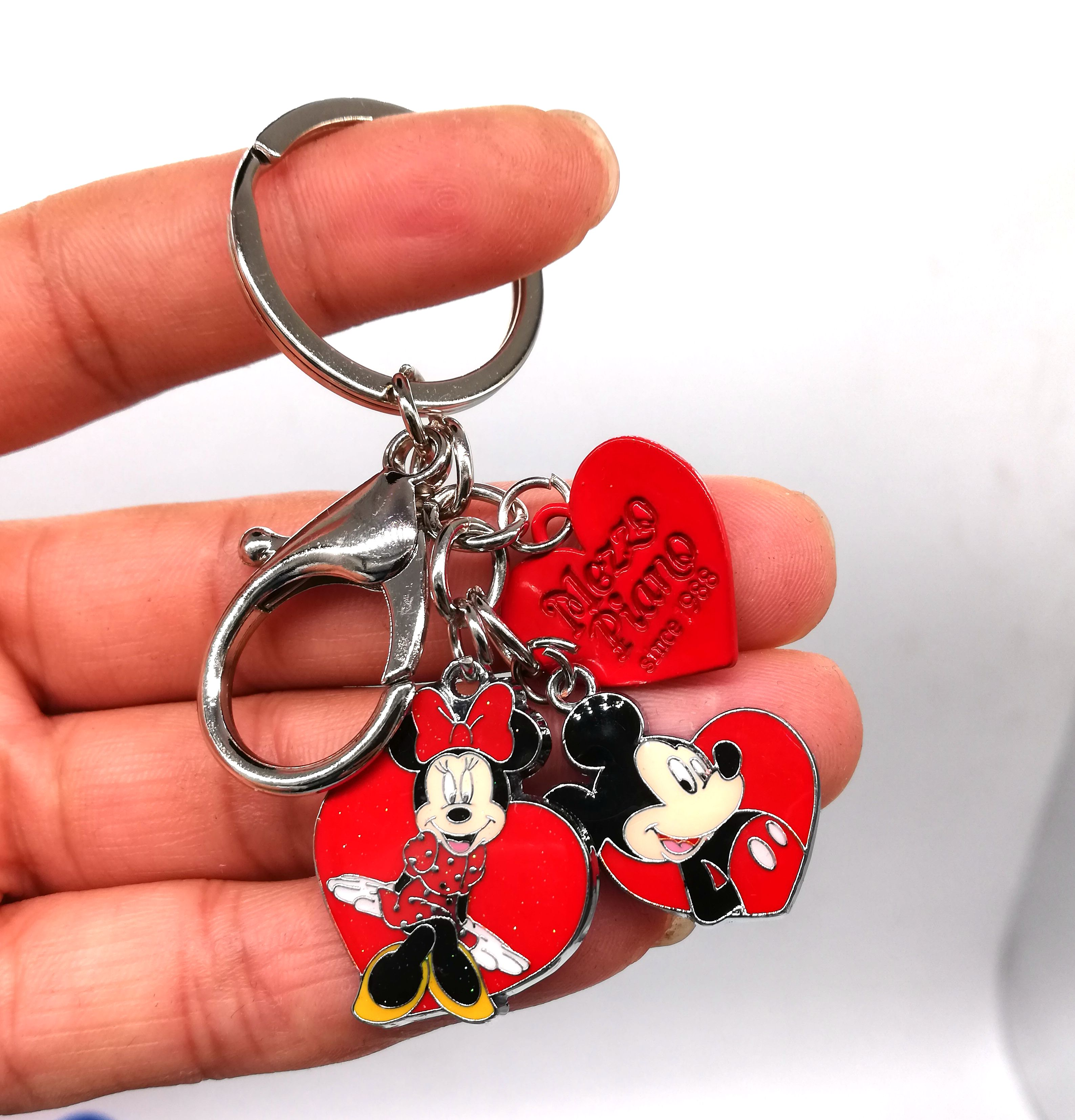 New 1 set Cartoon mickey minnie heart Keychain Jewelry Accessories Key Chains Pendant Gifts Favors LK-20 image