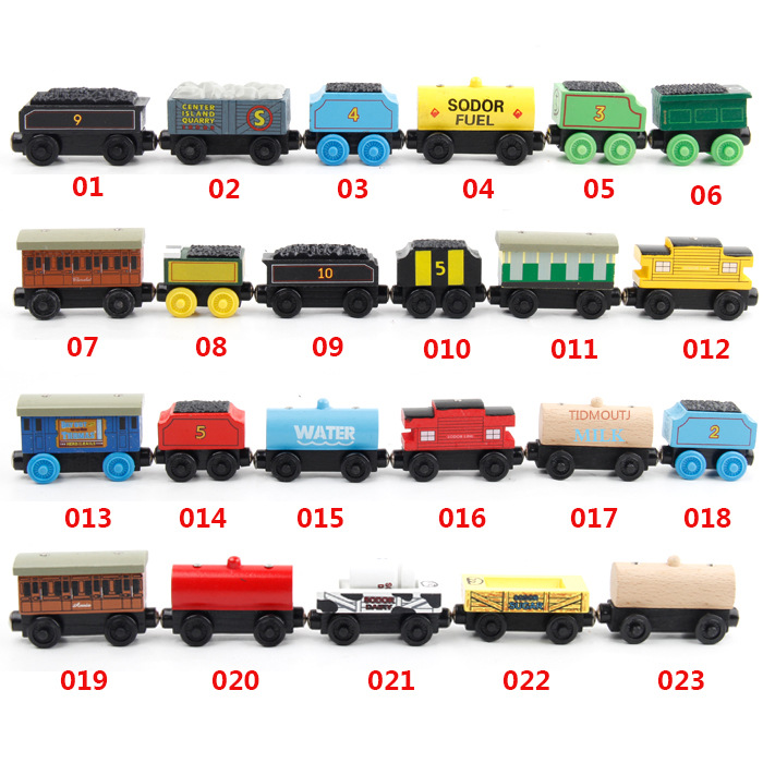 Wooden Train Toys Carriage Trains Model Magnetic Railway Train Track TOY Accessories Wood Locomotive Cars For Children Kids Gift