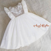 Fashion baby christening dress girl first communion gown gorgeous infant baptism dresses tied bow with flowers crystals lace