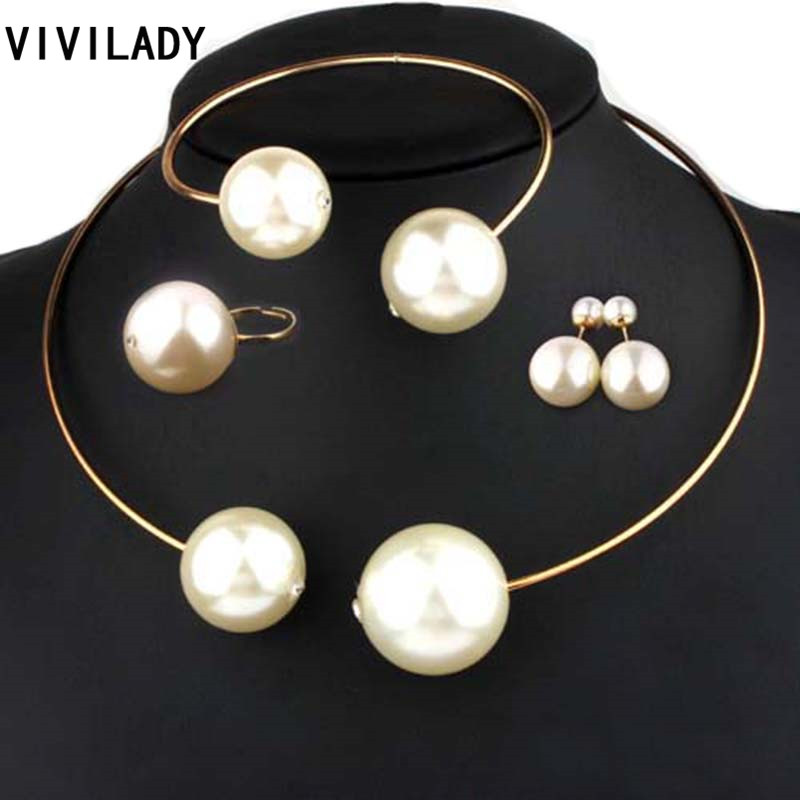 VIVILADY Fashion Jewelry Sets Huge Imitation Pearl Rhinestone Necklace Bangle Earrings Rings Statement Women Vogue Wedding Gifts